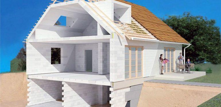 Малоэтажное здание из пенобетона